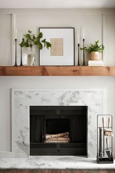 farmhouse living room decor with marble fireplace and rustic mantle, mantle decor ideas, fireplace design ideas, styling for fireplace mantle Farmhouse Fireplace Mantels, Home Fireplace, Fireplace Remodel, Living Room With Fireplace, Fireplace Design, Home Living Room, Living Room Designs, Fireplace Ideas, Wood Mantle Fireplace