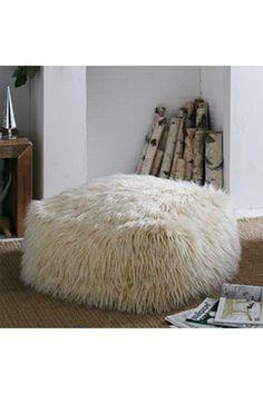 Image of MG DECOR Square Shaggy Faux Fur White Ottoman