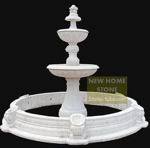Fontes de água ao ar livre fontes de mármore branco esculpido Natural Matt 4 camadas com piscinas de preços para casa castelo(China (Mainland))