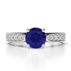 Gold / platinum round cut sapphire and diamond engagement ring Gold Platinum, Diamond Engagement Rings, Sapphire, White Gold, Accessories, Jewelry, Jewels, Schmuck, Jewerly