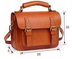 Handcrafted Leather Messenger Women's Fashion Bag Handbag Leather Shoulder Bag 14084 - LISABAG - 5