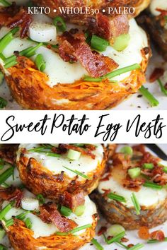 An exciting and delicious option, these Sweet Potato Egg Nests begin with a flavorful sweet potato hash brown nest, continue with a savory baked egg, and are perfected with a delicious crunch of bacon! Recipes on the go Paleo Sweet Potato Egg Nests Healthy Brunch, Paleo Breakfast, Brunch Food, Brunch Recipes, Bacon Recipes, Healthy Recipes, Paleo Food, Paleo Meals, Paleo Diet