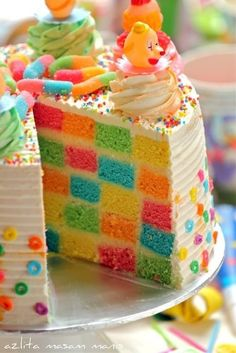Rainbow Checkerboard Birthday Cake