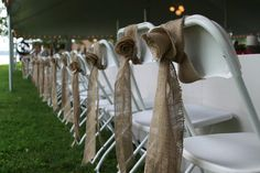 burlap ribbon on reception chairs^^