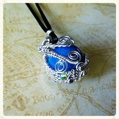 Blue Gemstone Sphere Sterling Silver Plated Wire Wrapped Pendant Necklace