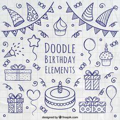 Doodle элементы ко дню рождения Бесплатные векторы