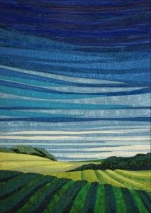 "Midday Sky, Fiber, 22.5 x 27.5"" framed"