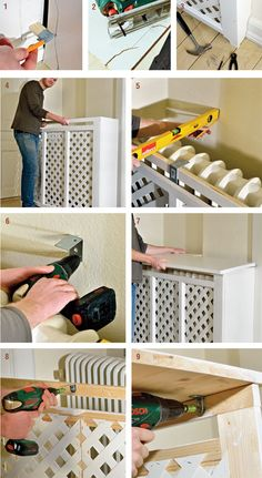 Detailed instructions for building wooden radiator covers. Photo detail – Decorazione in Legno - Famous Last Words Furniture Makeover, Home Furniture, Diy Radiator Cover, Wooden Pallet Furniture, Living Room White, Interior Design Living Room, Home Projects, Home Remodeling, Diy Home Decor
