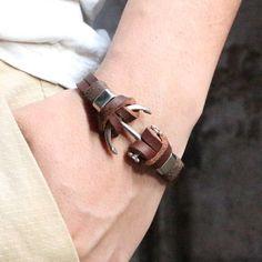 Save the Ocean Jewelry Rudder Bracelet Leather Handmade Top Quality 13 – © Bracelets For Men, Fashion Bracelets, Fashion Jewelry, Bracelet Men, Leather Bracelets, Gold Chains For Men, Leather Weaving, Slip On Shoes, Vintage Men
