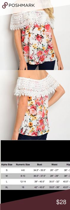 """Floral Off Shoulder Top Floral off shoulder top with crochet lace for an extra feminine touch🌸  97% Polyester,3% Spandex  Size Small: L: 20"""" B: 40"""" W: 42""""  🇺🇸Made in USA🇺🇸  🚫Trades✅Bundle and save Fresh Fashion Boutique Tops Tees - Short Sleeve"""