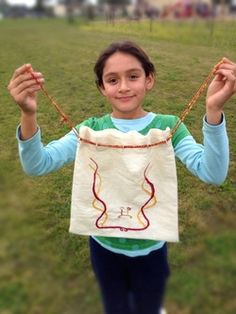Age 10 ~ Handwork ~ Chain Stitch Embroidered Bag ~ original design
