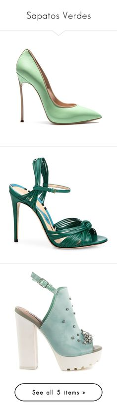 """Sapatos Verdes"" by amanda-elpidio ❤ liked on Polyvore featuring shoes, pumps, heels, mint green heels shoes, mint pumps, tan pumps, mint shoes, heel pump, sandals and gucci"