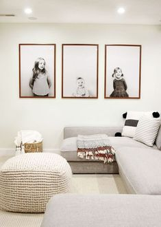modern neutral living room decor with sectional sofa, modern neutral seating area in bonus room with kid engineering prints, modern playroom decor wall art Play Room Ideas Cozy Living Rooms, Living Room Furniture, Home Furniture, Living Room Decor, Living Walls, Rustic Furniture, Antique Furniture, Cheap Furniture, Furniture Online