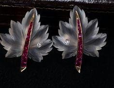Tiffany rock crystal ruby diamond earrings #tiffany #rockcrystal #ruby #diamond #maple #leaf #earrings #antiquejewellery