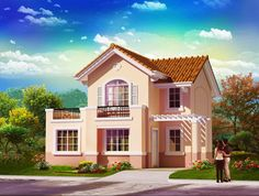 Two storey house plans with balcony with stainless steel balcony