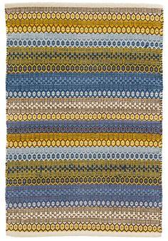 Dash and Albert Gypsy Stripe Denim/Yellow Woven Cotton Rug