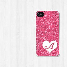 Personalized iPhone 4 Case, iPhone 5 Case, Pink Glitter with Heart Initial Monogram iPhone Cell Phone Cover, Plastic Phone Case (181)