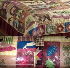 NEW 3 PC Lodge Quilt Set w/ Shams * MOOSE BEARS DUCKS FISH + more * FULL/QUEEN on eBay!