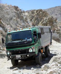 The Mitsubishi Fuso Four Wheel truck camper, http://www.truckcampermagazine.com/off-road-expeditions/the-fuso-four-wheel-camper