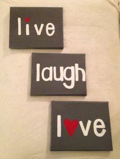 Live Laugh Love  three 8'' x 10'' canvas set by kendallskorner