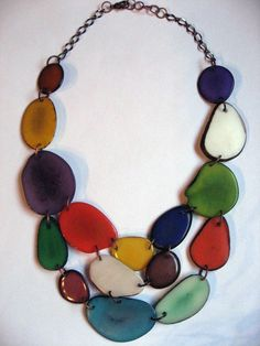 Mixed Color Tagua Nut Necklace by veronicarileymartens on Etsy, $95.00