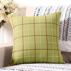 Plaid throw pillow decorative cushions for home