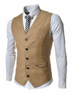XXL $34.99 Amazon.com: SVE TheLees Mens slim fit chain point 3 button vest: Clothing