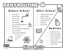 Color in your very own October routine task list! After School, Back To School, Do Homework, Clean Shoes, How To Make Bed, Face Wash, Bedtime, Routine, Homeschool
