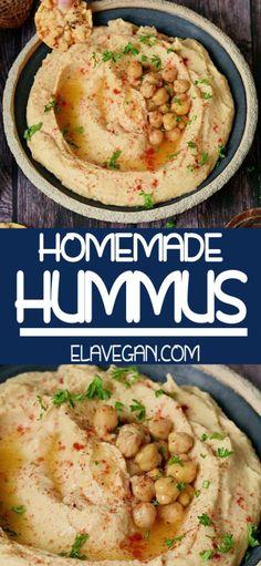 Easy Homemade Recipes, Homemade Hummus, Basic Hummus Recipe, Chickpeas Benefits, Quick Side Dishes, Eastern Cuisine, Vegan Hummus, Delicious Vegan Recipes, Whole Food Recipes