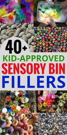 Sensory Bins: Do your kids love sensory bins? Here's a huge list of sensory bin fillers- you'll never run out of sensory play ideas!