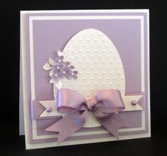 Easter card...white textured egg on a lavender card...something almost archetectural about this...luv it!!