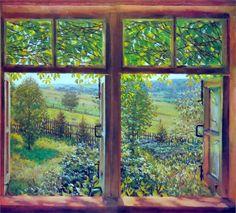 Konstantin Yuon  Open Window. Ligachevo, 1947