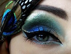 Peacock blue green feather shimmer eye make up