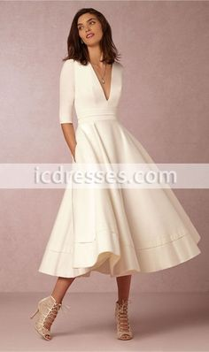 Spring+2016+Graceful+Tea-length+Prom+Dresses+with+Half+Sleeve+Simple+Ivory+Formal+Dress+with+Pockets+Cheap+Gowns+for+Wedding+Party