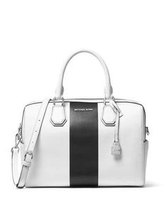 MICHAEL MICHAEL KORS Mercer Medium Striped Duffle Bag, White/Black. #michaelmichaelkors #bags #shoulder bags #hand bags #lining #