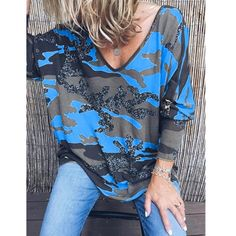 Carmen Tunica Blusa Vintage Oversize shirt OFF SHOULDER BATIK BLU 42 44 46