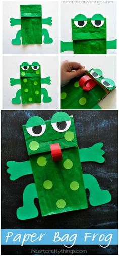 This Paper Bag Frog Kids Craft goes great with Five Green and Speckled Frogs or when learning about the letter F in preschool. Free arm and legs pattern included. from iheartcraftythings.com