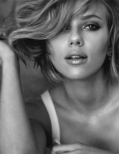 Scarlett Johanson, portrait noir et blanc