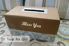 DIY TISSUE BOX COVER - use an old shoe box and customize for any occasion with scrapbook paper