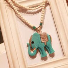 $6.86 Elegant Chic Style Elephant Shape Pendant Women's Beads Sweater Chain Necklace