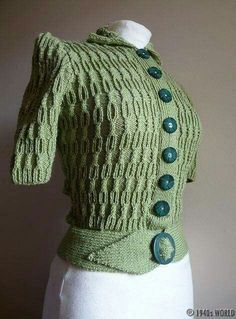 a green jumper / sweater hand-knitted from an original pattern - I really need to learn to knit Vintage Knitting, Hand Knitting, 1940s Fashion, Vintage Fashion, Vintage Dresses, Vintage Outfits, Vintage Clothing, 1940s Looks, Vintage Wardrobe
