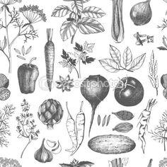 Vintage alimentos saludables — Ilustración de stock #49797767