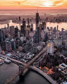 Manhattan golden hour by - The Best Photos and Videos of New York City including the Statue of Liberty, Brooklyn Bridge, Central Park, Empire State Building, Chrysler Building and other popular New York places and attractions. Photographie New York, Places To Travel, Places To Visit, Voyage New York, Lower Manhattan, Manhattan Skyline, New York Skyline, City Aesthetic, Photos Voyages