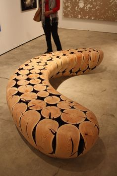 Furniture A Highlight At Art Basel, Miami Fairs Artist JaeHyo Lee is known for using everyday materials and circular motifs .Artist JaeHyo Lee is known for using everyday materials and circular motifs . Log Furniture, Woodworking Furniture, Unique Furniture, Woodworking Crafts, Furniture Design, Woodworking Shop, Furniture Ideas, Woodworking Workshop, Furniture Stores