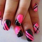 Black And Hot Pink Nails