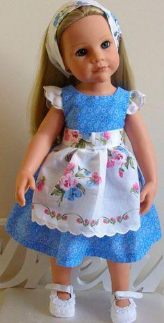 "Ditsy floral dress pansy pinny & aliceband18"" Dolls Designafriend/Gotz hannah"