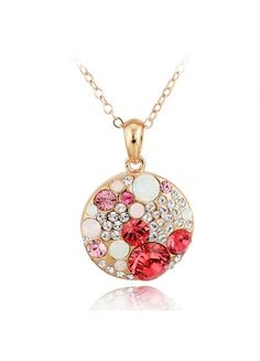 Romantic Necklace With Multi Color Austria Crystal Round Pendant