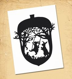 Rabbit And Hare Acorn Swing - Black and White Paper Cut Silhouette Squirrels and Groundhogs Love Watching Swinging Hares Paper Art, Paper Crafts, Paper Cutting Templates, Rabbit Art, Silhouette Art, Squirrel, Book Art, Creations, Illustration Art