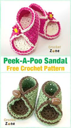 Crochet Baby Booties Crochet Peek-A-Poo Sandals Free Pattern - Crochet Baby Flip Flop Sandals [FREE Patterns] - Crochet Baby Sandals (Flip Flops, Flower Sandals and striped sandals), Perfect baby gifts for Spring and Summer shoe wear with free patterns Crochet Sandals Free, Crochet Baby Boots, Booties Crochet, Baby Girl Crochet, Crochet Shoes, Crochet Slippers, Crochet For Kids, Baby Booties, Kids Slippers