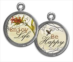 """Two sided charm or pendant with """"enjoy life"""" and """"be happy"""". Vintage collage art with a bee. Wear alone or combine with more charms to create an individualized gift for your graduate. Each charm has a clip at the top that will easily attach to any of our necklace or bracelet chains! $13.99 by Pick Up Sticks Jewelry."""
